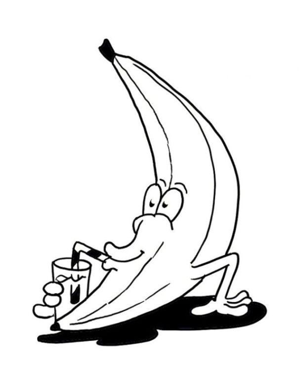 Malvorlagen zum Drucken Ausmalbild Banane kostenlos 2
