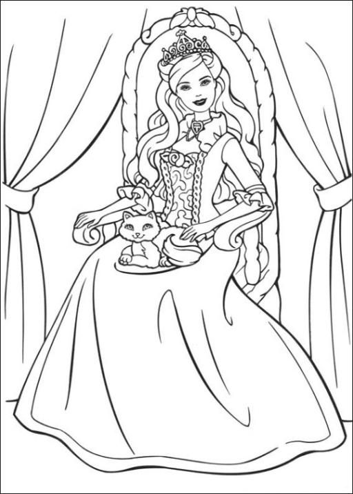 Malvorlagen zum Drucken Ausmalbild Barbie Die Prinzessin und das ...