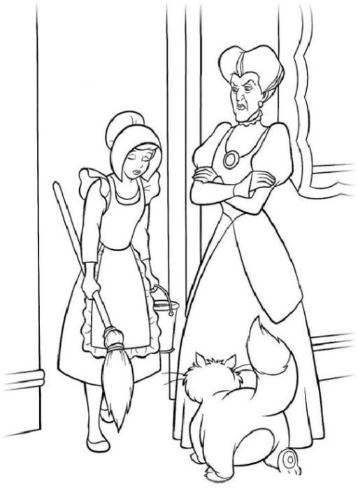 Malvorlagen zum Drucken Ausmalbild Cinderella kostenlos 3