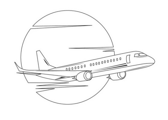 Ausmalbild Flugzeug kostenlos 1