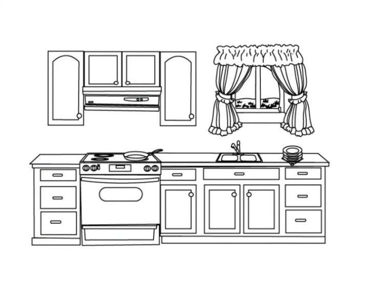 Malvorlagen zum Drucken Ausmalbild Küche kostenlos 1
