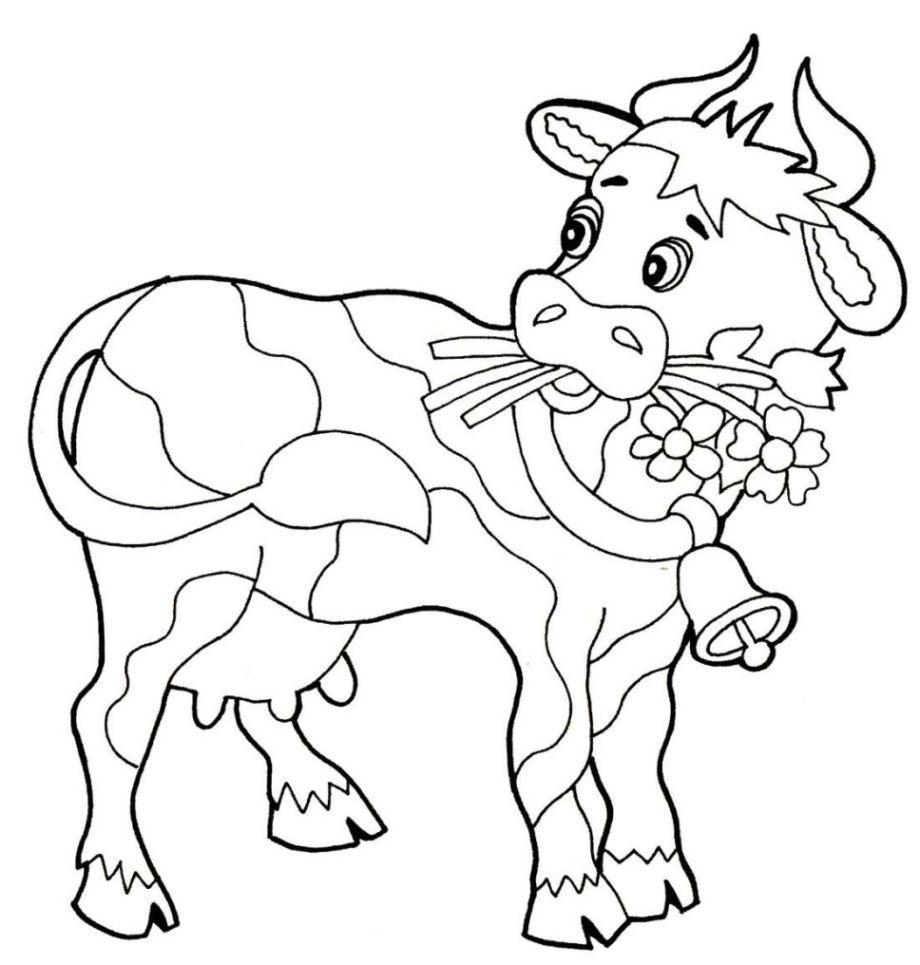 Ausmalbild Kuh kostenlos 3