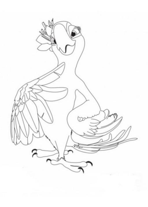 Kostenlose Malvorlage Vögel Papagei Auf Einem Ast Zum Ausmalen