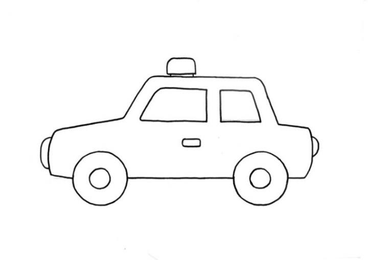 Ausmalbild Polizeiauto kostenlos 1
