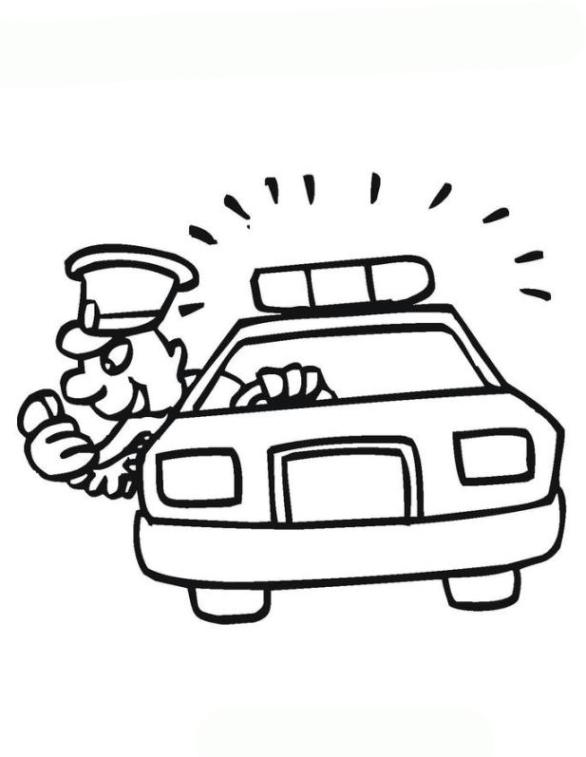 Ausmalbild Polizeiauto kostenlos 2
