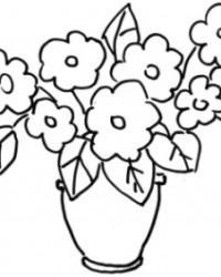 Ausmalbild Vase mit Blumen kostenlos 2