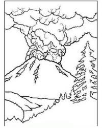 Ausmalbild Vulkan kostenlos 1